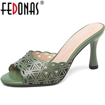 FEDONAS Newest 2020 Genuine Leather Women Pumps High Heels Sandals Elegant Peep Toe Slippers Summer Basic Casual Shoes Woman