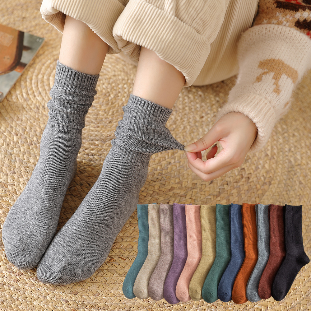 Женские носки Salina, зимние, новогодние, рождественские, однотонные, для отдыха, спорта, утепленные, удобные, модные, толстые, хлопковые|Носки| | АлиЭкспресс