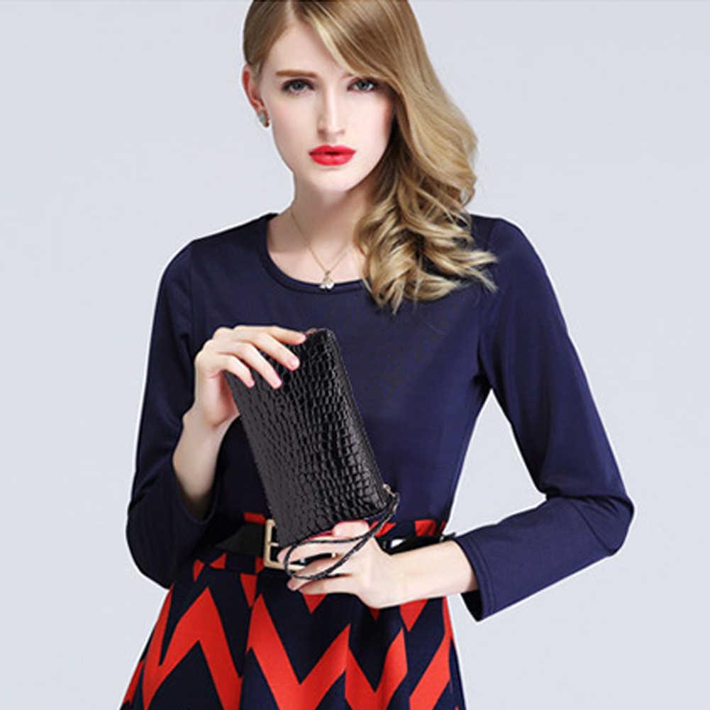Femmes portefeuilles mode dame bracelet sacs à main longue argent sac fermeture éclair porte-monnaie cartes porte-pièce d'identité pochette femme portefeuille en cuir PU
