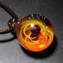 Rotate Two Planets Universe Glass Bead Pendant Necklace Galaxy Rope Chain Solar System Design for Women Gift
