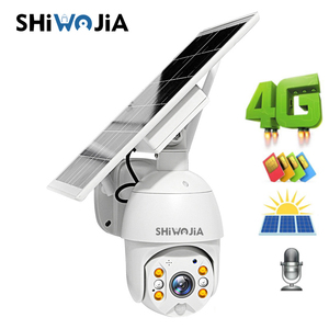 SHIWOJIA 4G Солнечная камера 1080P HD, панель солнечных батарей, уличный мониторинг, водонепроницаемая камера видеонаблюдения, умный дом, Двусторон...
