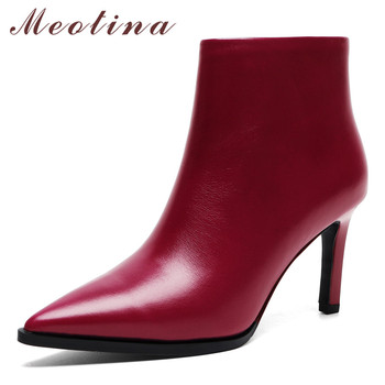 Meotina Women Boots Winter Ankle Boots Natural Genuine Leather Thin Heel Short Boots Zipper Super High Heel Shoes Lady Autumn 39