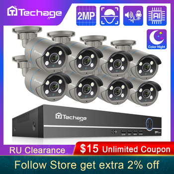 Techage H.265 8CH 1080P POE NVR Kit CCTV Security System Two Way Audio 2MP AI IP Camera Outdoor Video Recorder Surveillance Set techage h 265 8ch 2mp poe security camera system 1080p poe nvr kit p2p cctv video surveillance outdoor audio record ip camera