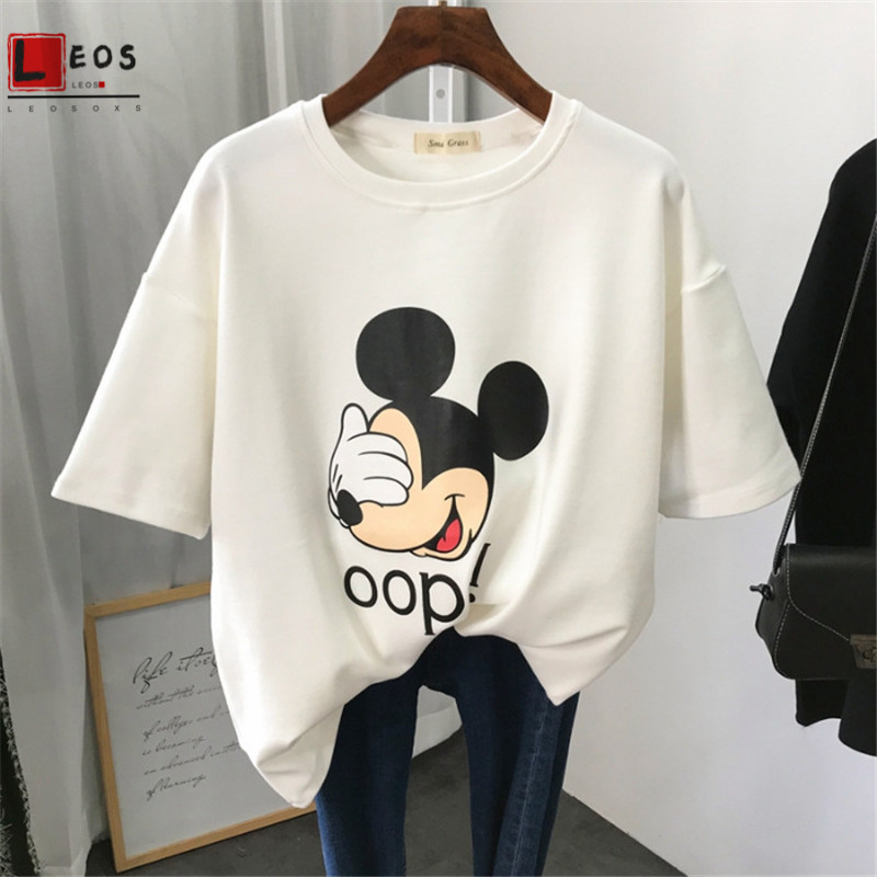 Mickey Women T-shirts Cartoon Print Harajuku Korean Short Sleeve For Girls Summer Casual Korean Top Tee Fashion Female Clothing