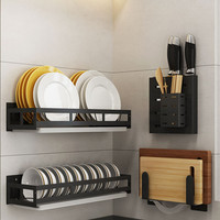 Stainless steel kitchen rack wall-mounted wall free punching pot cover knife cutting board frame seasoning storage rack supplies
