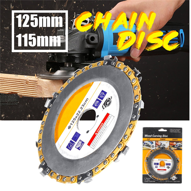 125mm/115mm Woodworking Carving Disc Grinder Chain Fine Abrasive Cut Disc Plate Wheel For Angle Grinder