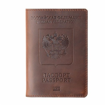 Hot Genuine Leather Passport Cover for Russia Solid ID&Credit Card Holder Business Passport Case Unisex Travel Wallet Case