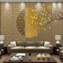 Milofi custom large wallpaper mural abstract big tree ginkgo leaf magpie sofa bedroom living room background wall(China)