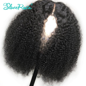 Image 1 - 13X4 레이스 프론트 숏 밥 가발 150% Afro Kinky Curly 인간의 가발 Pre Plucked Bleached Knots 레미 몽골어 헤어 가발 Slove Rosa