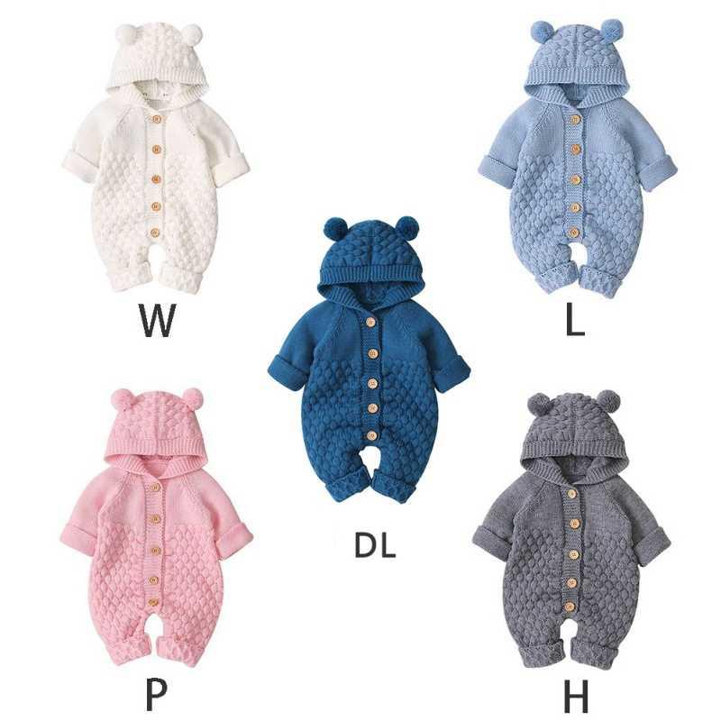เด็กถัก Rompers การ์ตูนหมีถักฤดูใบไม้ร่วงเด็กแรกเกิด Jumpsuits เสื้อผ้าฤดูหนาวเด็กวัยหัดเดินเสื้อเด็กโดยรวม