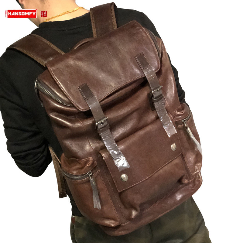 2019 new Men student backpack fashion casual genuine leather men's 15.6 inch laptop bag first layer leather travel backpacks