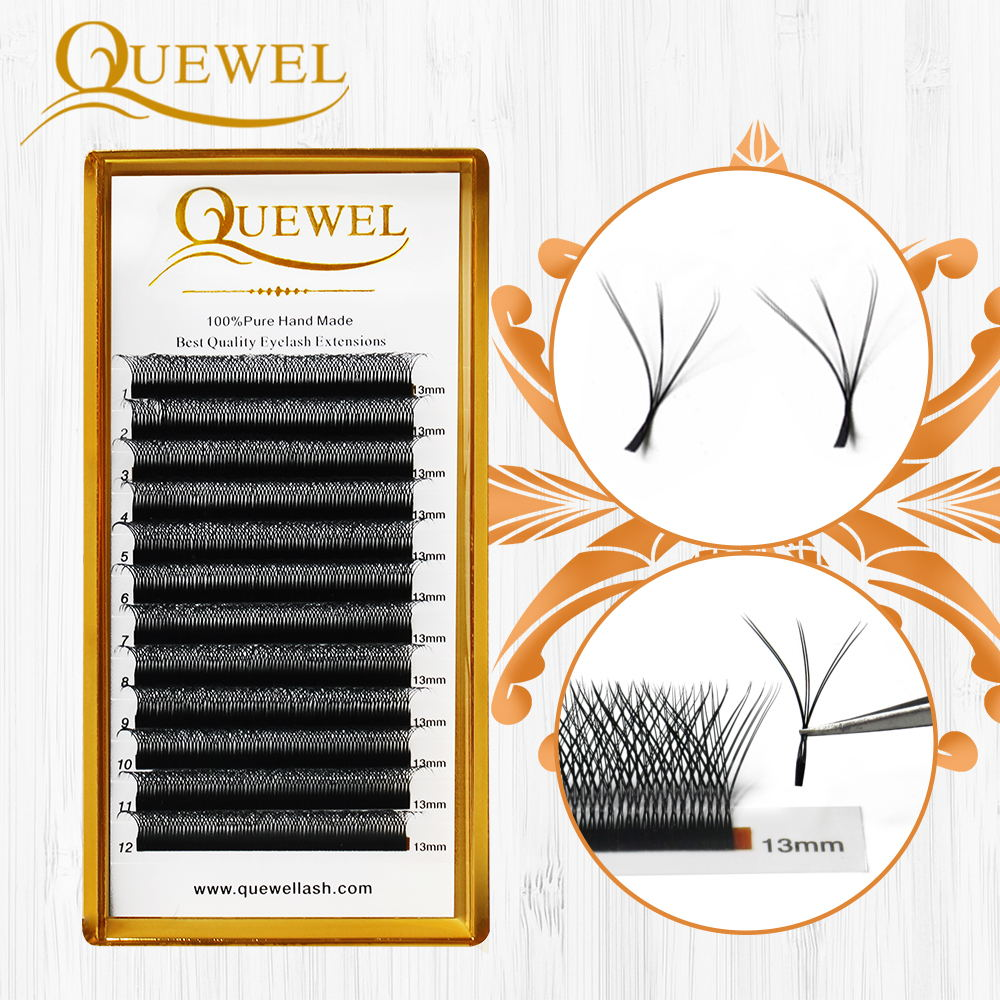 Quewel W Shape Individual Eyelashes Extensions Double Tip 0.07mm C/D Curl W Style New Volume False Eyelash Natural Thick Lash