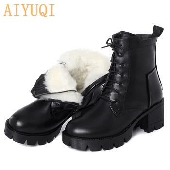 AIYUQI Winter Boots Women 2020 New Ladies Ankle Boots Genuine Leather Warm Wool Lace Up Motorcycle Boots Women aiyuqi winter ankle boots women 2020 new high heels women boots genuine leather wool fashion platform female office boots