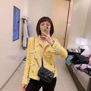 Image 1 - CH009 новый весенний стиль. Пальто лимонно желтого цвета. Вязаное пальто, подкладка из 100% шелка