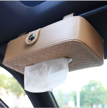 Tissue Box Holder For Car Leather  Sun Visor Hanging Paper Towel Napkin