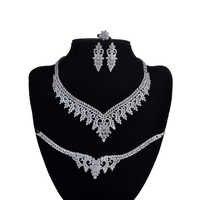 Schmuck Set HADIYANA Halskette Ohrringe Ring Armband Luxus Schmuck Elegante Für Frauen Mit Zirkon CN1107 Haar Sieraden Bruiloft