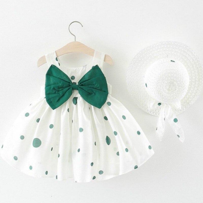 Vestido para niña, novedad de verano del 2019, ropa para niña pequeña, sombrero de paja con lazo lunares, vestido de princesa, vestido de Navidad para bebé