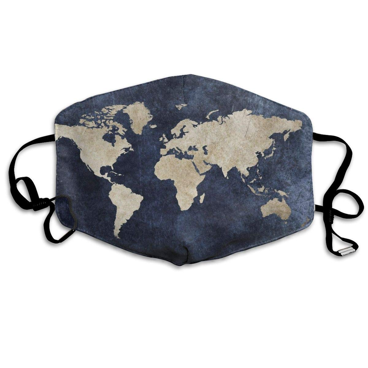 Premium Dust Mask - Washable Breathable Mouth Face Mask - Adjustable Ear Loop For Kids Women Men Earth World Map Art