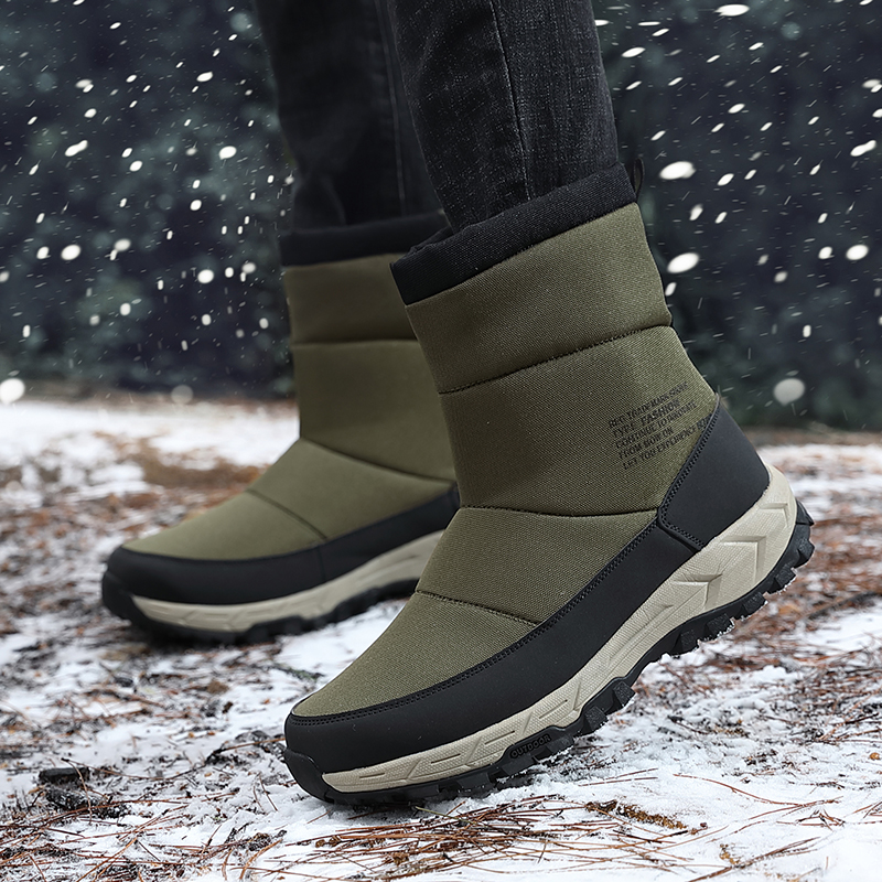 Warm Snow Boots for Men Fleece Waterproof Winter Sneakers Anti-skid Outdoor Hiking Boots Men's High-cut Hiking Shoes image