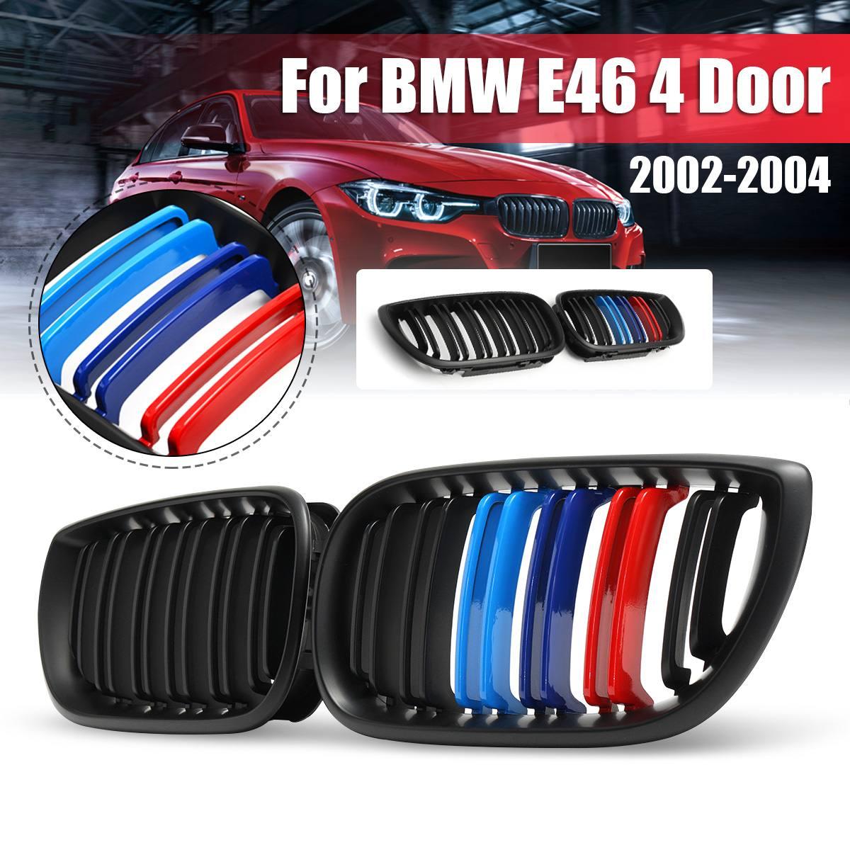 1Pair M-Style Matt Black Front Bumper Kidney Grille Double Slat 2 Slat  For BMW E46 4 Door 2002 2003 2004 Racing Grill