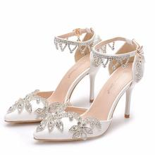 Rainha de cristal Rhinestone Bombas Mulheres Saltos Altos Finos Apontou Toe com Tira No Tornozelo Sandálias Partido Sapatos de salto Alto Mulheres Sapatos de Casamento