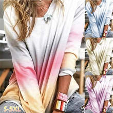 Newly 2019 Women Fashion Autumn Gradient Color Shirt Blouse Round Neck Long Sleeve Pullover Casual Plus Size IR-ing(China)