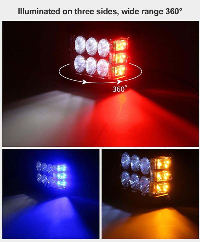 2020 Car LED Work Light Bar Side Shooter LED Light Pods Cube Side Shooter Pod White & Amber Strobe Lamp SUV