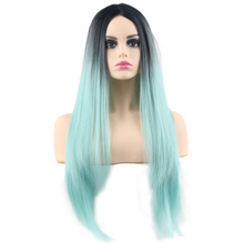 Ombre Straight Synthetic Wig Mixed Black and Pink Long Wigs for White /Black Women Middle Part High Temperature Fiber Wigs stylish medium layered capless straight black browm mixed synthetic wig for women