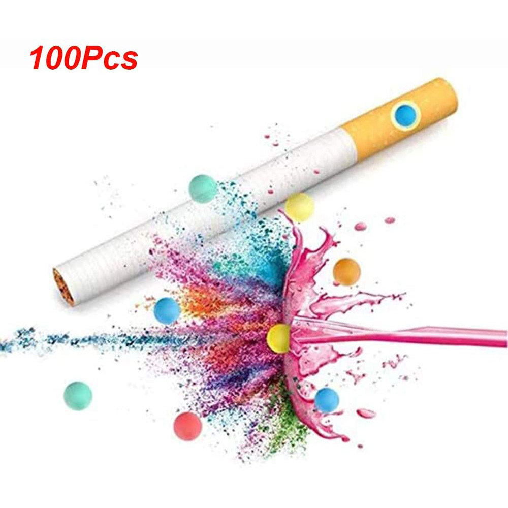 100pcs Cigarette Pops Beads Aromatic DIY Explosion Bead Ball Cigarette Holder Menthol Cigarette Filters Smoking Accessories Tool