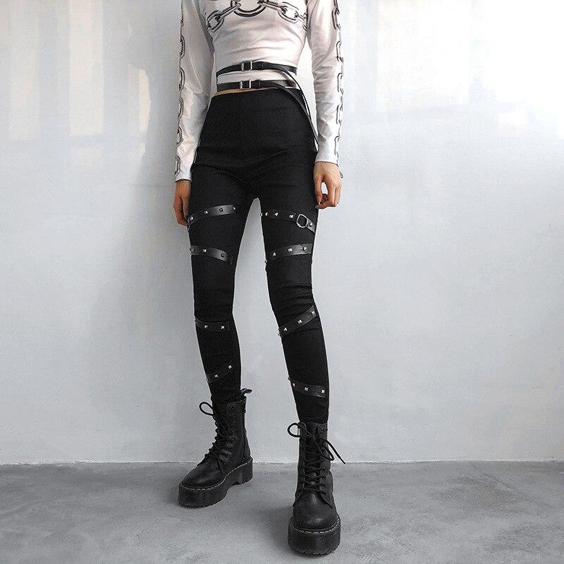 InsGoth Black Pencil Pants Gothic Punk High Waist Patchwork Women Pants Streetwear Fashion Female Skinny Leggings Harajuku 1