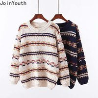 JoinYouth Vintage Print Korean Pullovers Thick Warm 2019 Autumn Winter Panelled Sweaters Women O neck Fashion Sueter Mujer J149