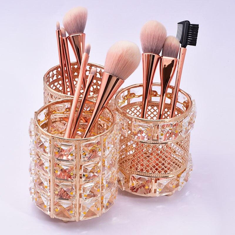 prego ferramentas caneta recipiente rosa ouro broca de vidro 10 pcs champagne maquiagem escova conjunto sem