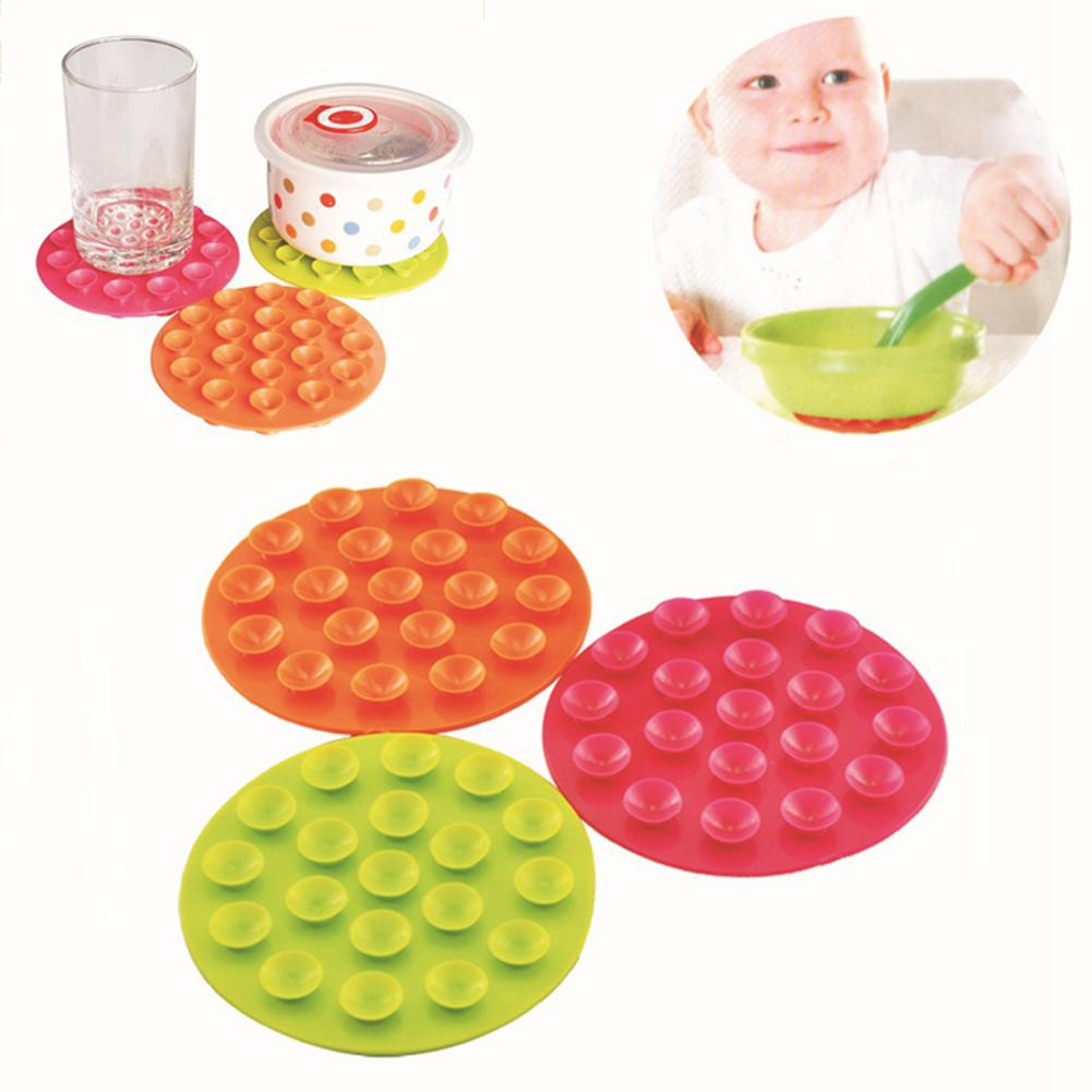 Silicone Baby Feeding Bowl Cup Anti Slip Placemat Double Sided 19 Suction Cups Sucker Mat Pads Tableware Fixed Non Slip Coaster