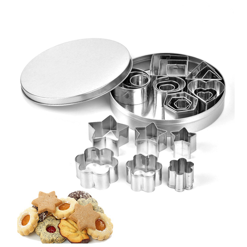 Geometric Shaped Cookie Cutter Set 24 Square Heart Triangle Round Baking Cutter  Stainless Steel Metal Biscuit Cutter Molds