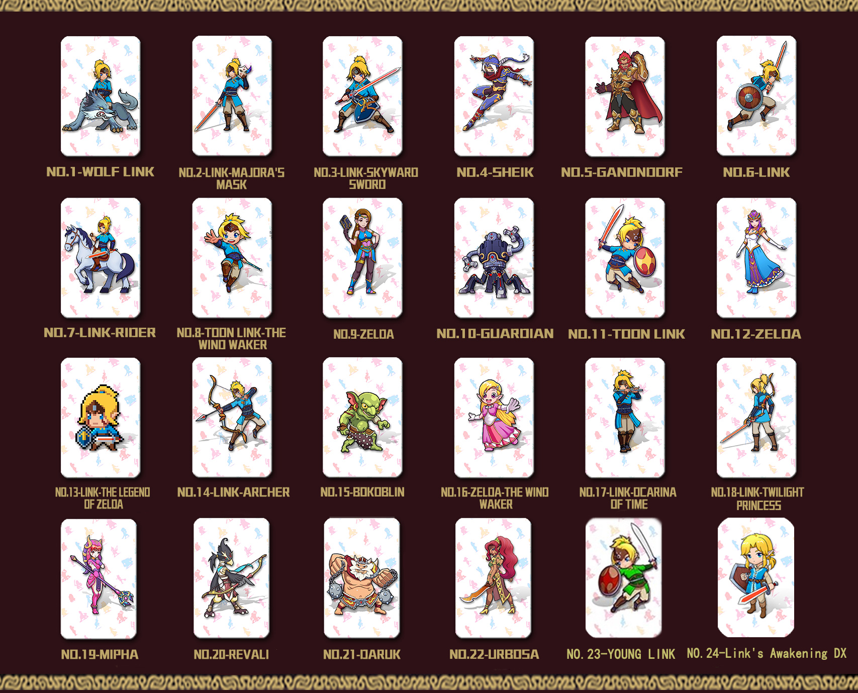 24PCS Full Set Amiibo Card for The Legend of Zelda Breath of the Wild Full Set