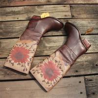 Handmade Leather Knee High Boots Block Heel Biker Boots Retro Flowers