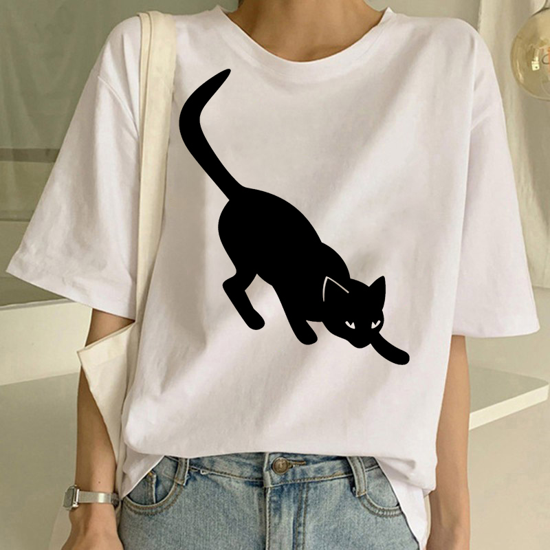 Cat Graphic T Shirt Women Funny T Shirts Summer Tee Shirt Femme Cartoon Kawaii Printed Tshirts Camiseta Mujer Streetwear