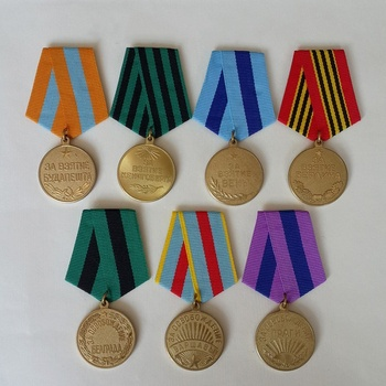 7 Piece Set Soviet Union Red Army City Offensive Battle Campaign Medal USSR Red Star Badge