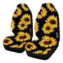 2 шт. автомобильные чехлы для сидений с принтом подсолнуха, защитный чехол для грузовиков, фургонов, внедорожников, авто подушки на стулья, чехлы для сидений, аксессуары