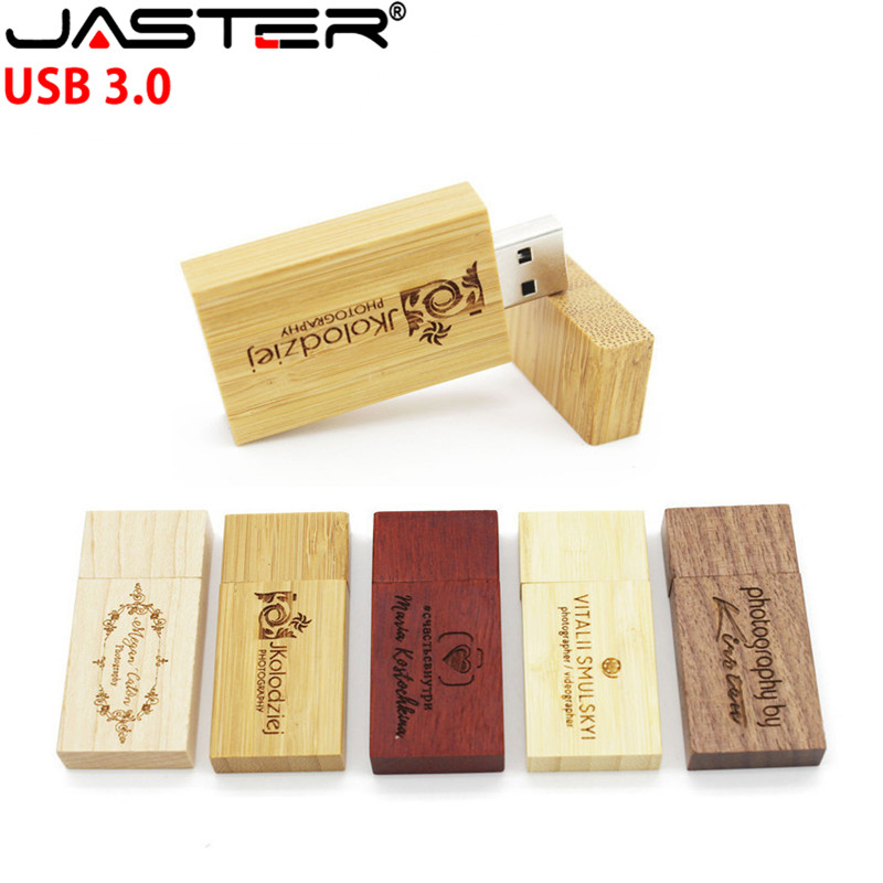 JASTER Wooden USB Custom LOGO DIY Pen Drive 8GB 16GB 32GB 64GB USB 3.0 Pendrives Gifts Memoria USB Disk (Over 10pcs Free Logo)