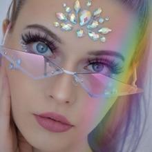 แนวโน้มRimless Cat Eyeกรอบแว่นตากันแดดผู้หญิงยี่ห้อบุคลิกภาพโปร่งใสสามเหลี่ยมSunแว่นตาVintageกรอบโลหะGafas