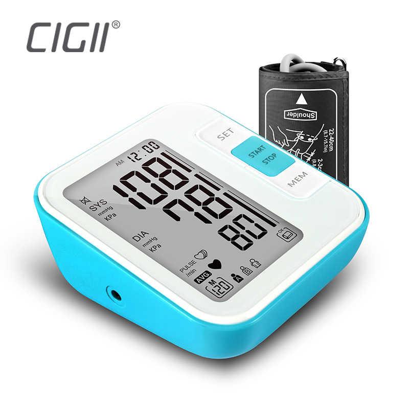 Cigii Grote LCD digitale Bovenarm bloeddrukmeter Tonometer Meter Druk arteriële Thuis gezondheidszorg monitor 2 Manchet band.