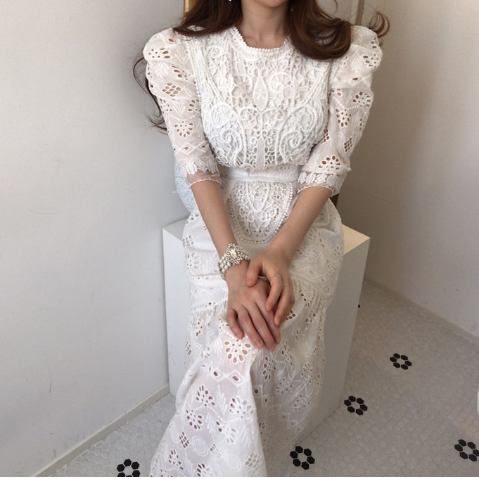 H2d488c7ace8740a5880b170b8c65a2a38 - Summer Korean O-Neck Half Sleeves High Waist Lace Hook Flowers Hollow Out Midi Dress