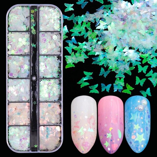 1 fall Meerjungfrau Symphonie Nail art Glitter Pailletten Flocke Holographische Laser Mixed Form 3D Schmetterling Scheibe DIY Maniküre Decor JIHW 2