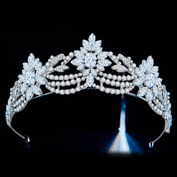 Luxury Cubic Zircon Crown Crystal Bridal Tiaras CZ Crowns Rhinestone Prom Pageant Diadem Bride Headband Wedding Hair Accessories