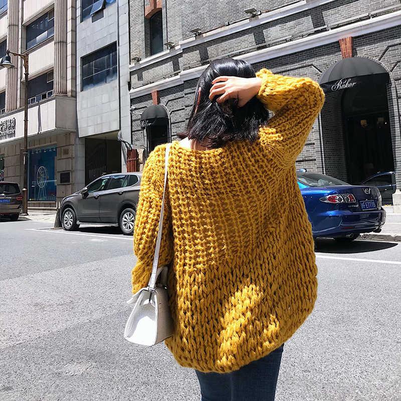 Super chic jumper yellow cardigan long sleeve v neck autumn winter women gray sweater black lamb wool mohair green sweaters