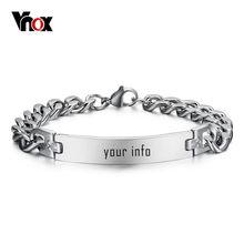 Vnox acier inoxydable ID Bracelet pour hommes nom personnalisé anniversaire cadeau fête bijoux 8.2 inchs