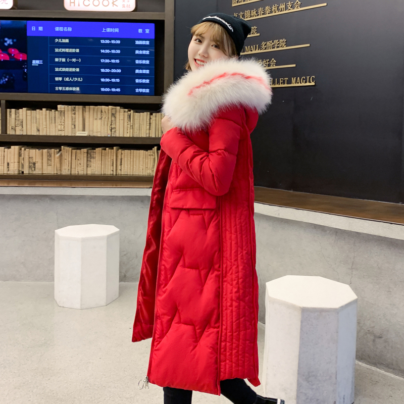 KMVEXO With Big Fur 2019 New Winter Jacket Women Hooded Padded Long Female Coat Warm Ladies Parka Mujer Invierno in Parkas from Women 39 s Clothing