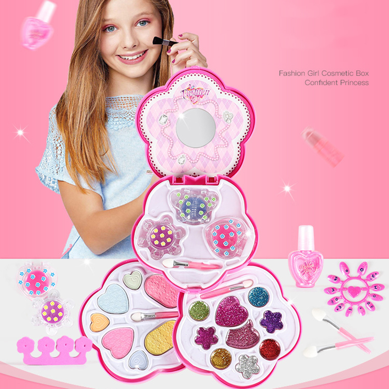 Girls Make Up Set Toys Pretend Play Simulation Cosmetic Bags Beauty Makeup Tools Kit Children Pretend Play Toys Safe Non-toxic