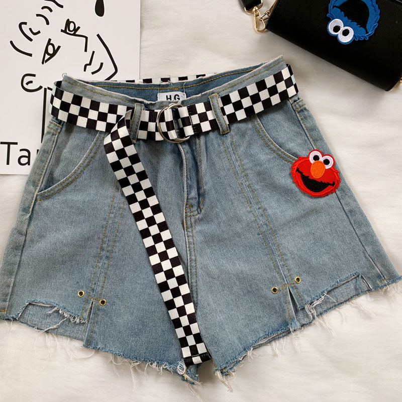 Woman Casual Fashion Black And White Plaid Canvas Student Belt 130cm Waist With Double D Buckle Streetwear Colorful Waistband